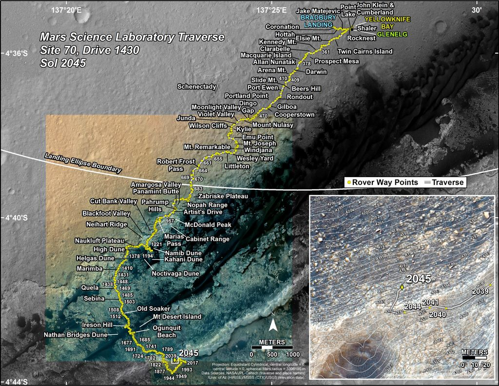This map shows the route driven by NASA's Mars rover Curiosity through the 2045 Martian day, or sol, of the rover's mission on Mars (May 11, 2018).