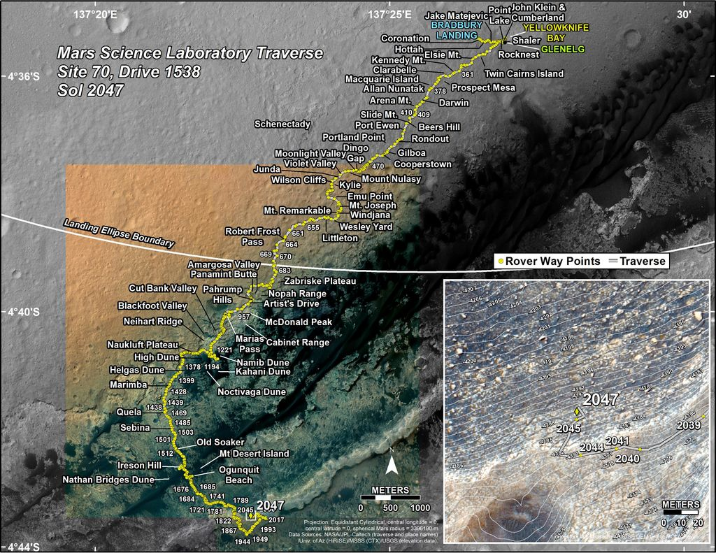 This map shows the route driven by NASA's Mars rover Curiosity through the 2047 Martian day, or sol, of the rover's mission on Mars (May 16, 2018).