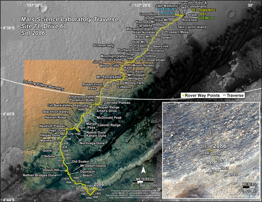 This map shows the route driven by NASA's Mars rover Curiosity through the 2086 Martian day, or sol, of the rover's mission on Mars (June 20, 2018).