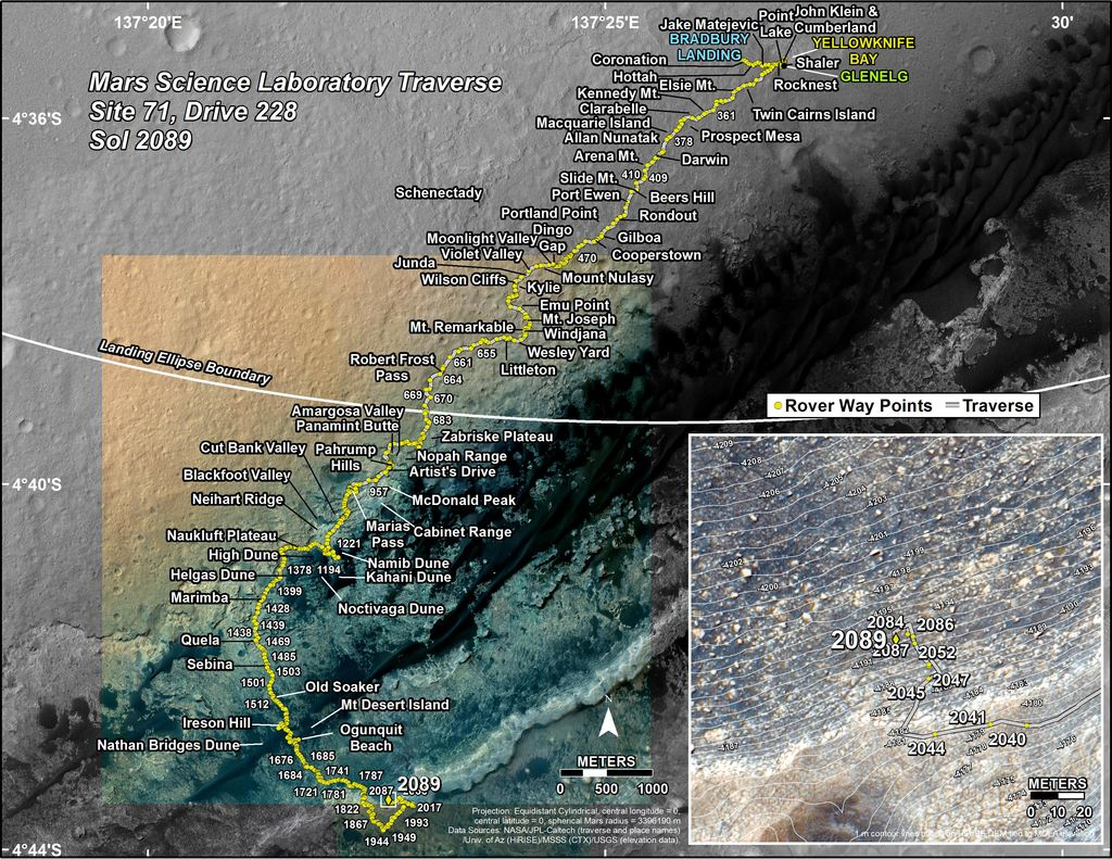 This map shows the route driven by NASA's Mars rover Curiosity through the 2089 Martian day, or sol, of the rover's mission on Mars (June 22, 2018).