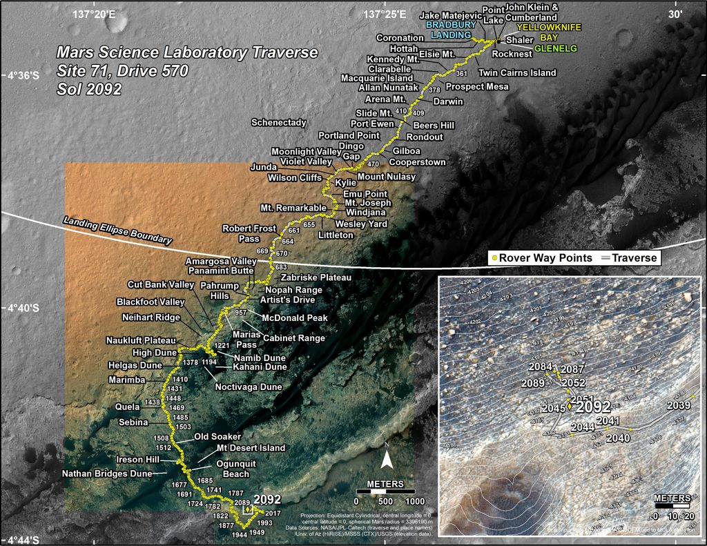 This map shows the route driven by NASA's Mars rover Curiosity through the 2092 Martian day, or sol, of the rover's mission on Mars (June 25, 2018).