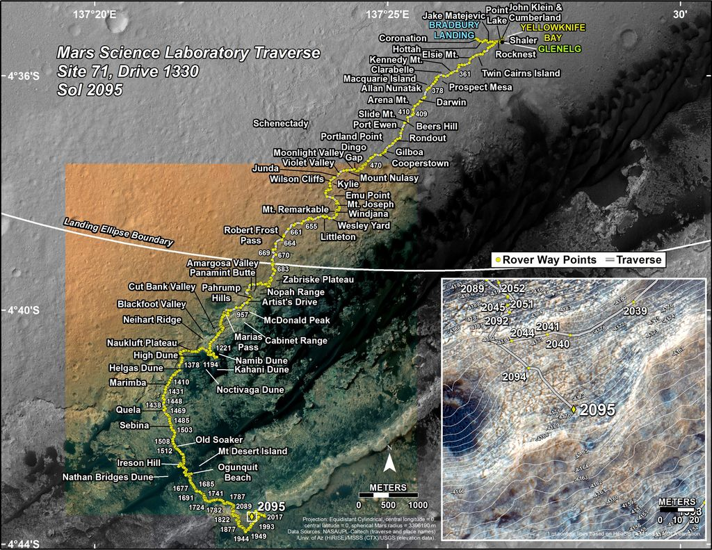 This map shows the route driven by NASA's Mars rover Curiosity through the 2095 Martian day, or sol, of the rover's mission on Mars (July 02, 2018).