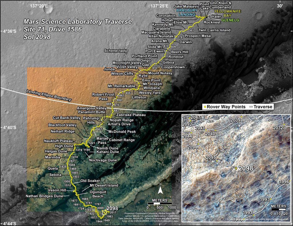 This map shows the route driven by NASA's Mars rover Curiosity through the 2098 Martian day, or sol, of the rover's mission on Mars (July 02, 2018).