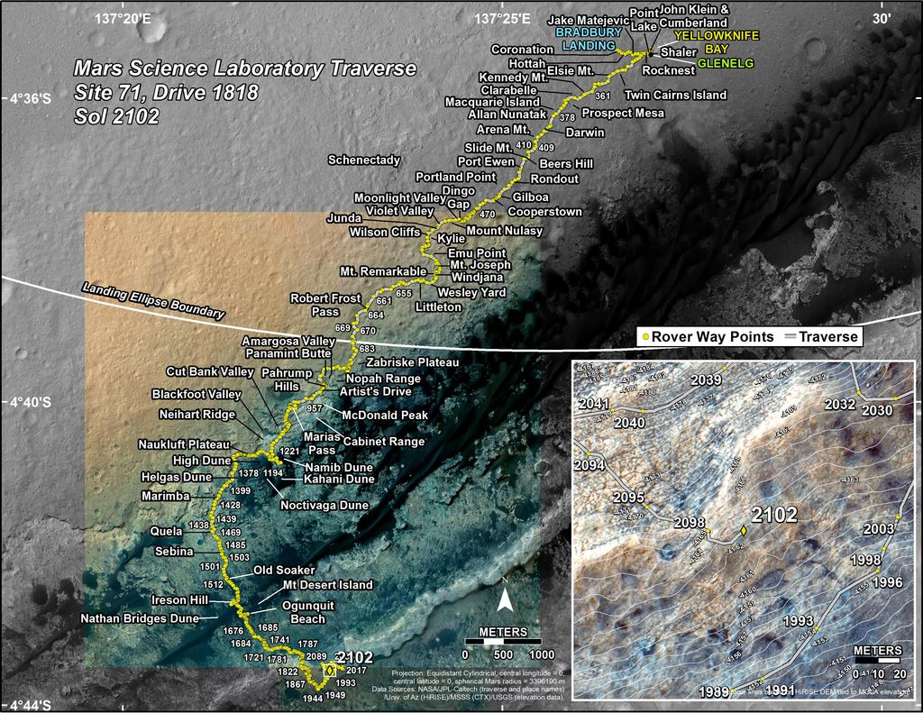 This map shows the route driven by NASA's Mars rover Curiosity through the 2102 Martian day, or sol, of the rover's mission on Mars (July 06, 2018).
