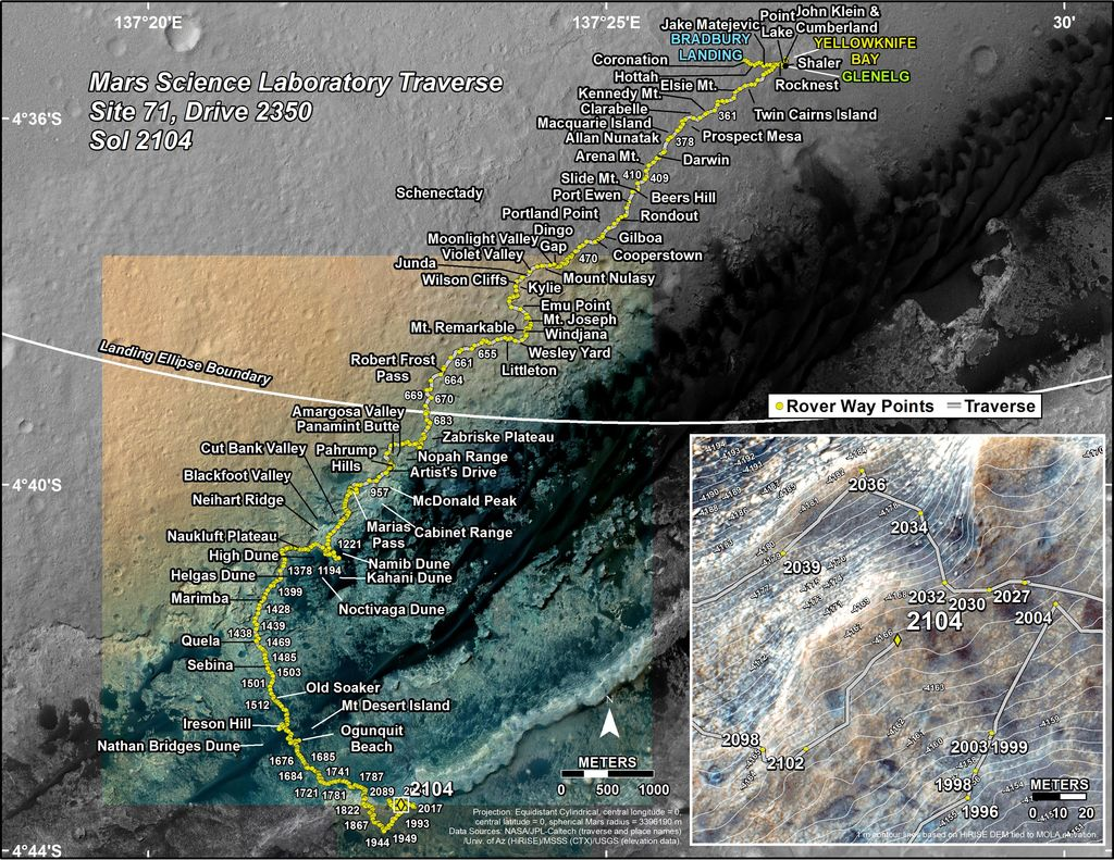 This map shows the route driven by NASA's Mars rover Curiosity through the 2104 Martian day, or sol, of the rover's mission on Mars (July 09, 2018).