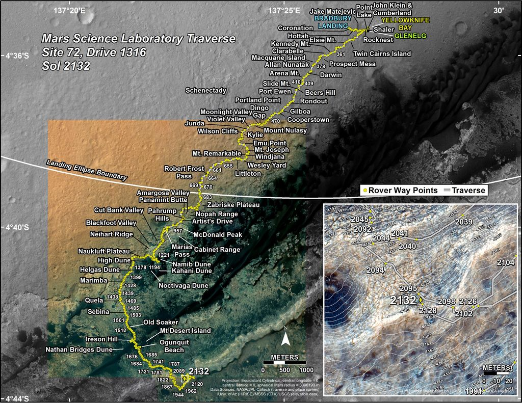 This map shows the route driven by NASA's Mars rover Curiosity through the 2132 Martian day, or sol, of the rover's mission on Mars (August 06, 2018).