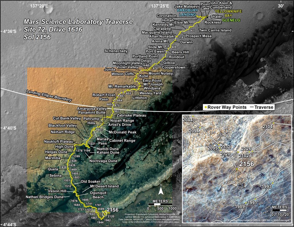 This map shows the route driven by NASA's Mars rover Curiosity through the 2156 Martian day, or sol, of the rover's mission on Mars (August 30, 2018).