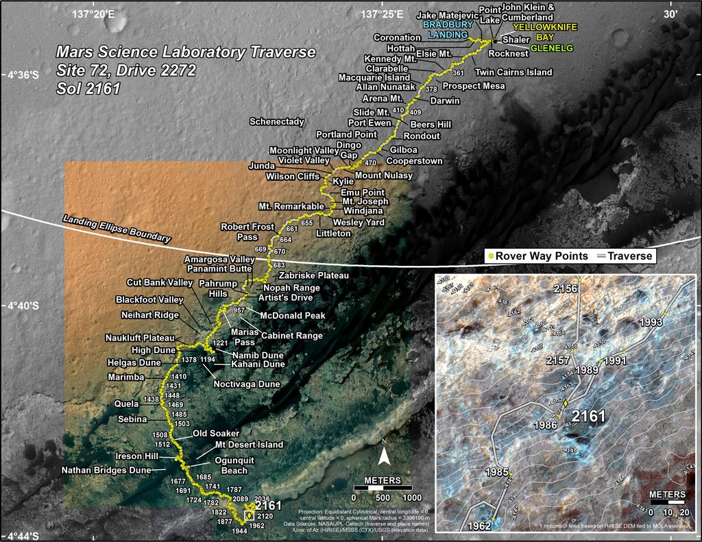 This map shows the route driven by NASA's Mars rover Curiosity through the 2161 Martian day, or sol, of the rover's mission on Mars (September 04, 2018).