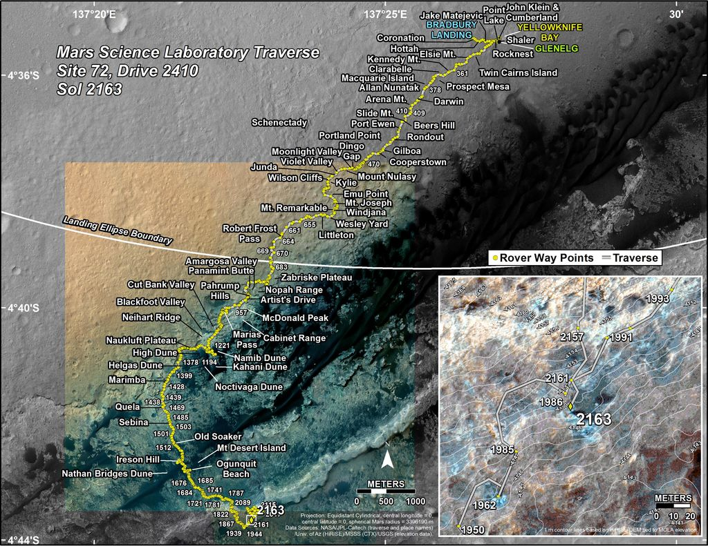 This map shows the route driven by NASA's Mars rover Curiosity through the 2163 Martian day, or sol, of the rover's mission on Mars (September 07, 2018).
