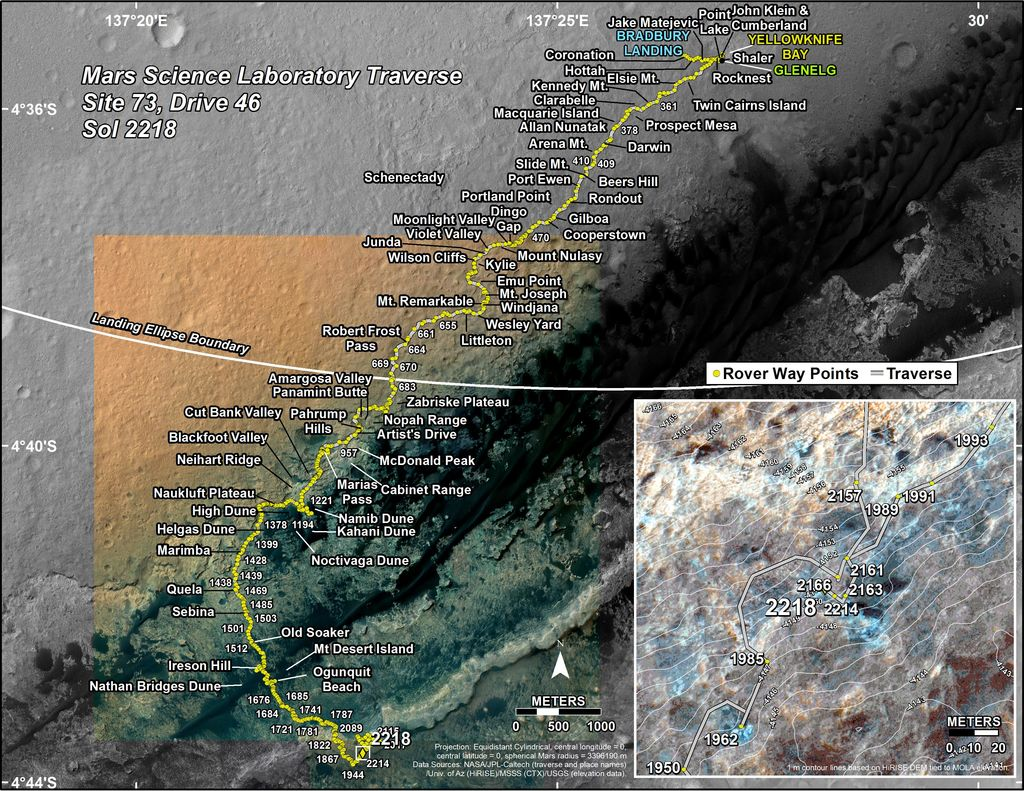 This map shows the route driven by NASA's Mars rover Curiosity through the 2218 Martian day, or sol, of the rover's mission on Mars (November 29, 2018).