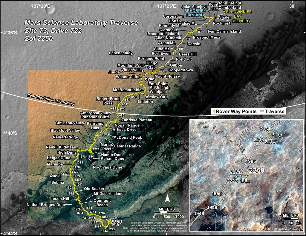 This map shows the route driven by NASA's Mars rover Curiosity through the 2250 Martian day, or sol, of the rover's mission on Mars (December 05, 2018).
