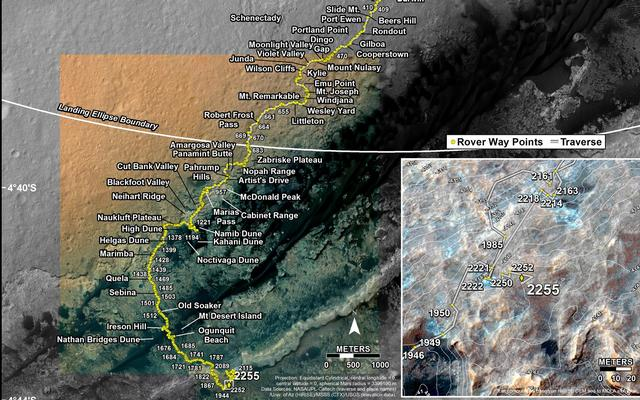 This map shows the route driven by NASA's Mars rover Curiosity through the 2255 Martian day, or sol, of the rover's mission on Mars (December 10, 2018).
