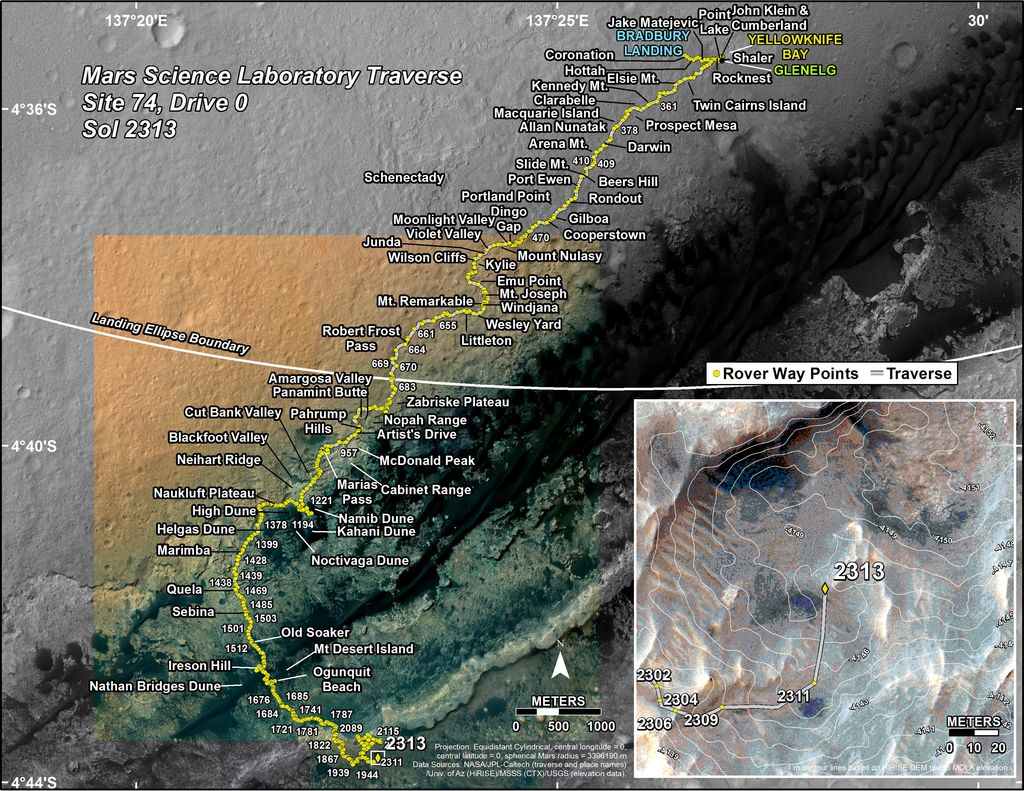 This map shows the route driven by NASA's Mars rover Curiosity through the 2313 Martian day, or sol, of the rover's mission on Mars (February 08, 2019).
