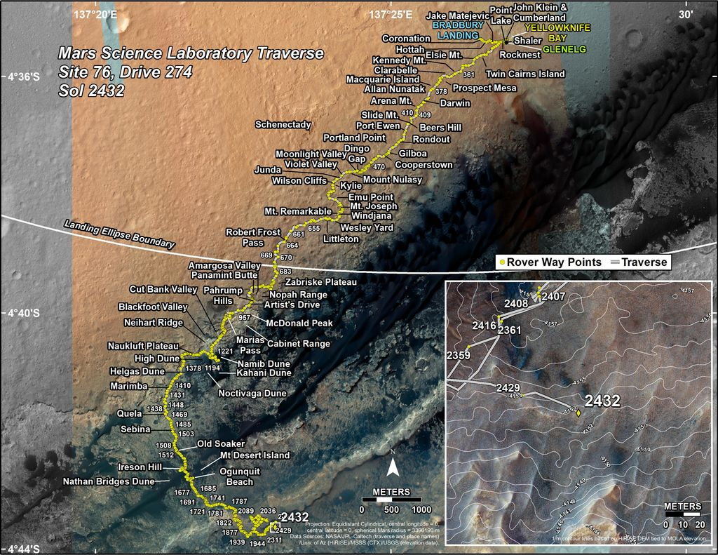 This map shows the route driven by NASA's Mars rover Curiosity through the 2432 Martian day, or sol, of the rover's mission on Mars (June 10, 2019).