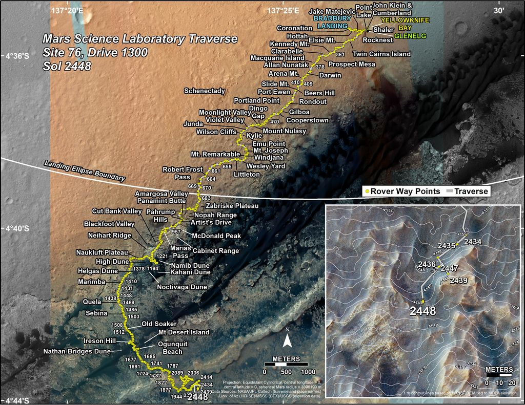 This map shows the route driven by NASA's Mars rover Curiosity through the 2448 Martian day, or sol, of the rover's mission on Mars (June 26, 2019).