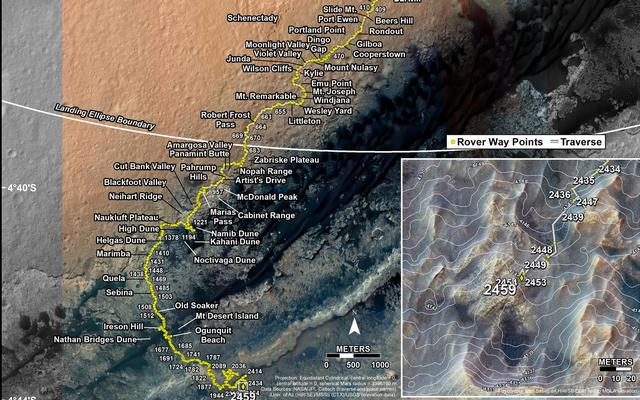 Curiosity's Traverse Map Through Sol 2459