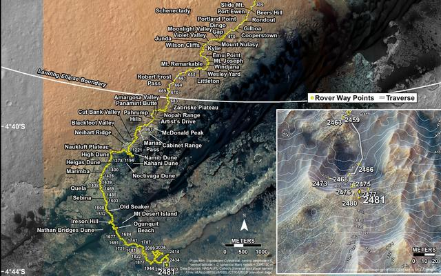 This map shows the route driven by NASA's Mars rover Curiosity through the 2481 Martian day, or sol, of the rover's mission on Mars (July 30, 2019).