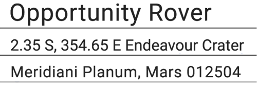 Address of the Opportunity rover at Endeavour Crater, Meridiani Planum, Mars