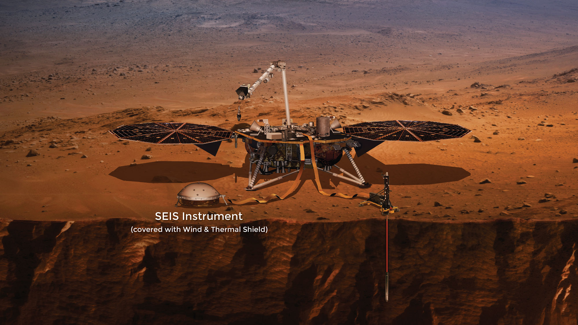 This artist's concept that depicts NASA's InSight Mars lander fully deployed for studying the deep interior of Mars.