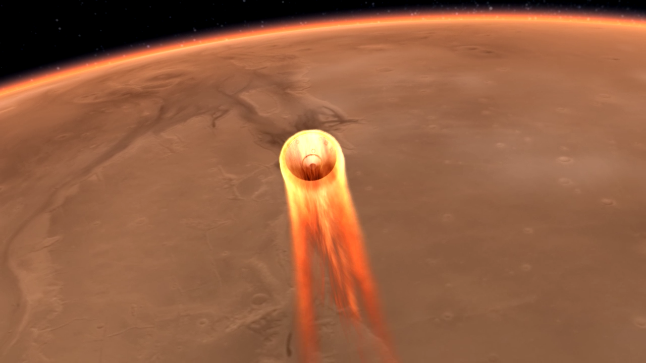 Image of a spacecraft during entry of Mars