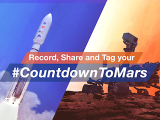 The words 'Record, share and tag your #Countdowntomars' are overlaid on a graphic of a rocket launch