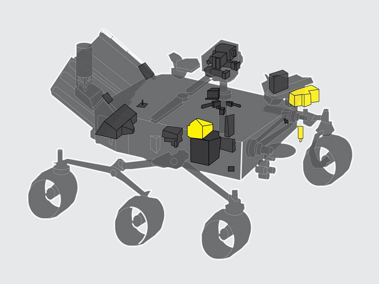 SHERLOC highlighted on the Mars 2020 Rover