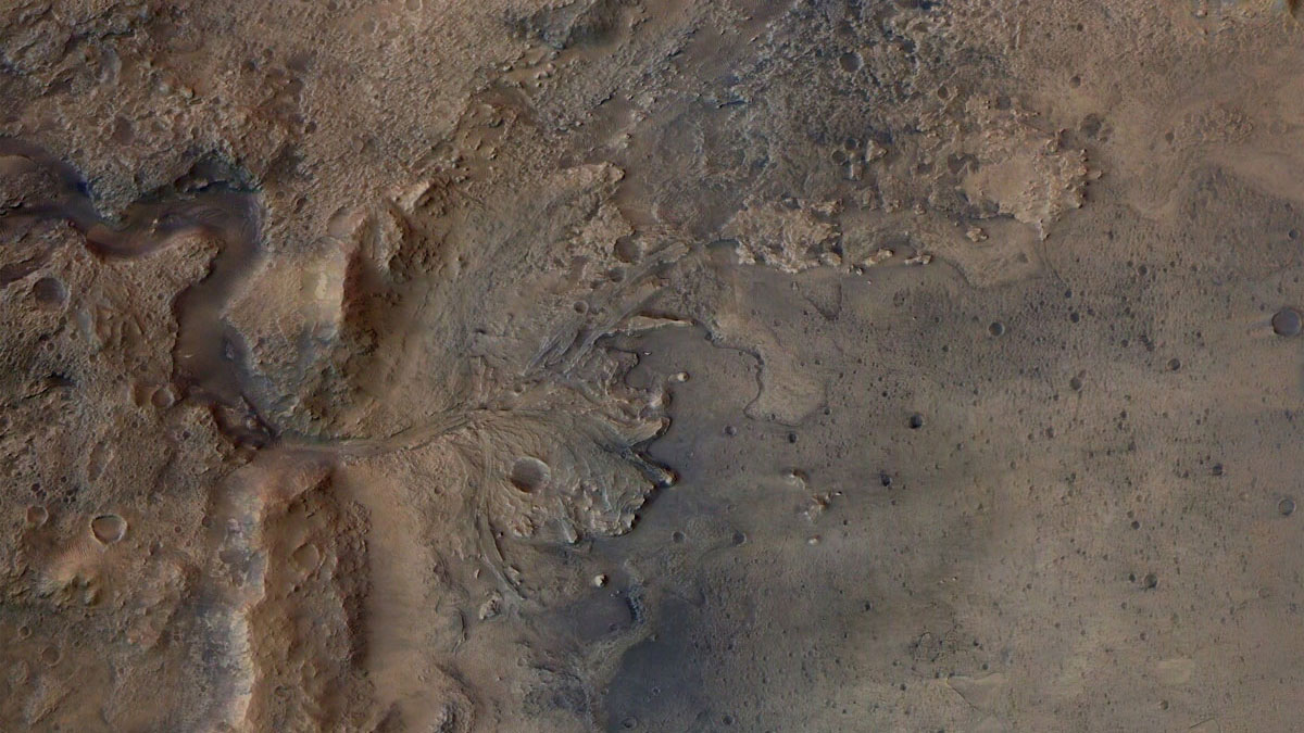 This image is of Jezero Crater on Mars, the landing site for NASA's Mars 2020 mission.