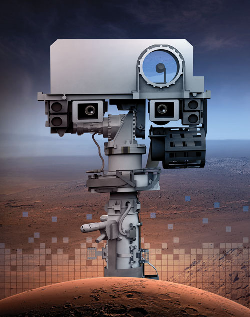 A close-up profile photo of Perseverance showing the mast, or neck of the rover, with the head on top which contains the two cameras, that look like eyes.