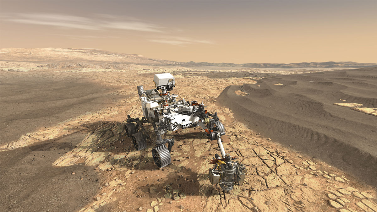 This artist's concept depicts NASA's Mars 2020 rover exploring Mars