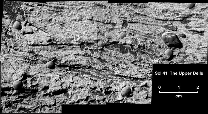This black-and-white mosaic of microscopic images shows fine, undulating, horizontal layers of rock-hard sediment stacked atop each other and interspersed with bead-shaped concretions of rock. Some of the layers curve upward in the shape of a smile. Here and there, an overlying layer cuts into previously deposited layers, creating a truncation in the underlying layers that curves upward at its lateral edges. These undulating, down-cutting layers are known as crossbeds.