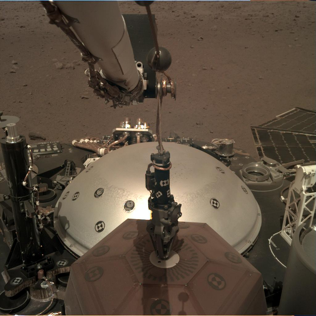 Nasa's Mars lander InSight acquired this image using its Instrument Deployment Camera on Sol 20