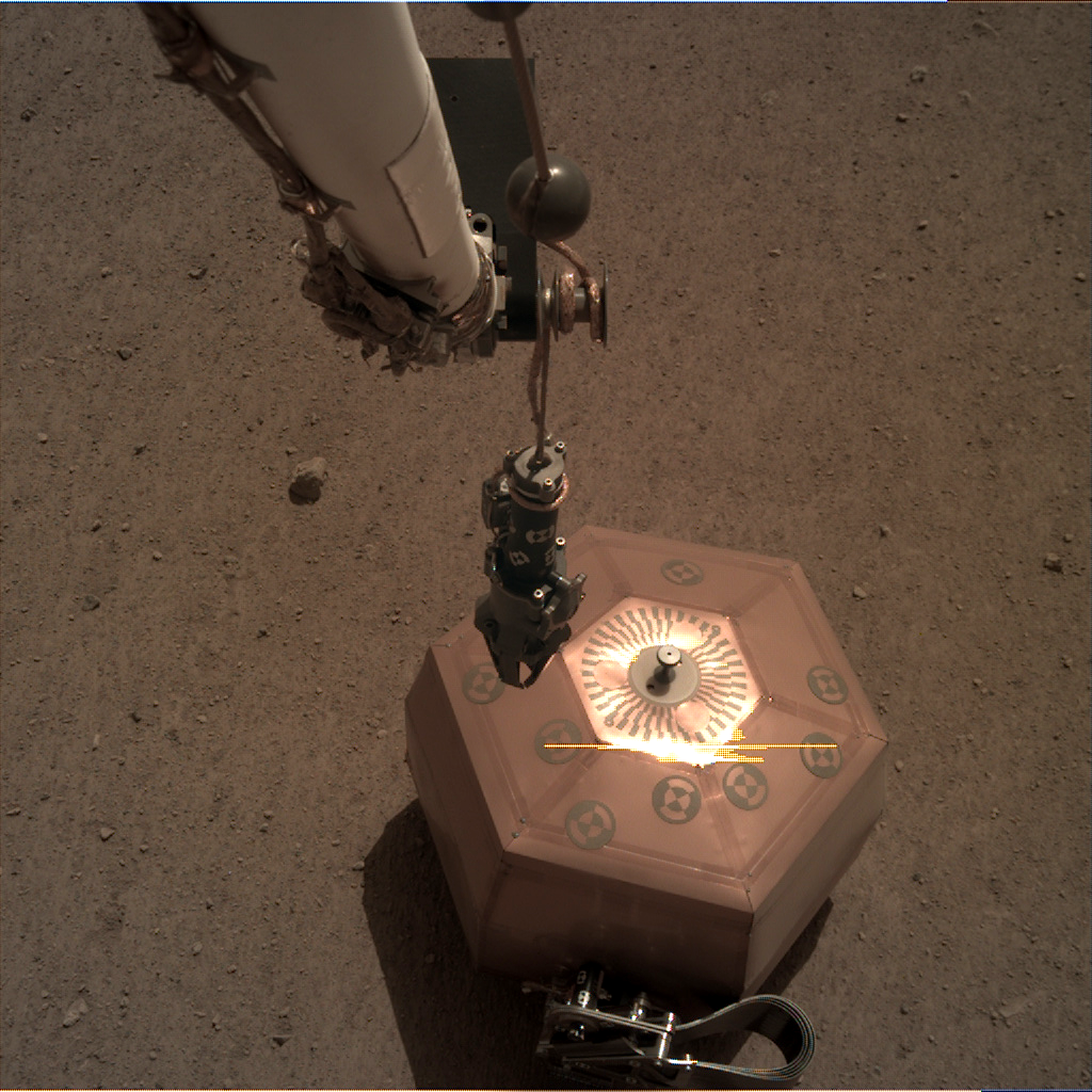 Nasa's Mars lander InSight acquired this image using its Instrument Deployment Camera on Sol 32
