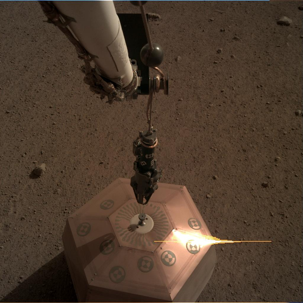 Nasa's Mars lander InSight acquired this image using its Instrument Deployment Camera on Sol 35