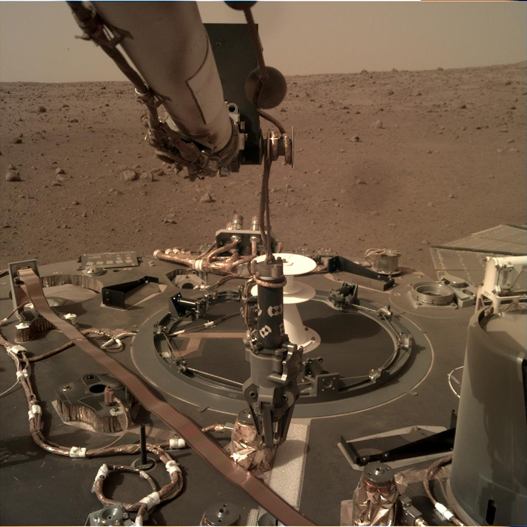 Nasa's Mars lander InSight acquired this image using its Instrument Deployment Camera on Sol 85