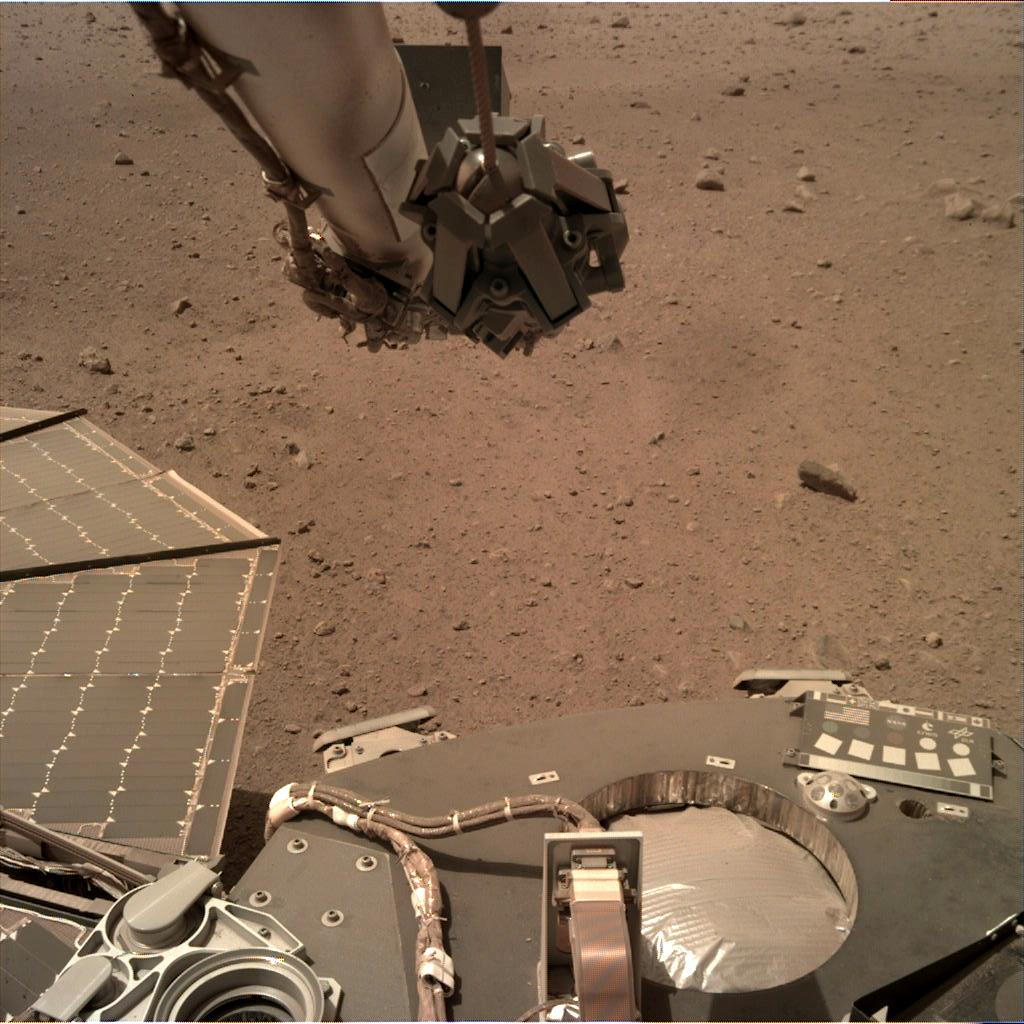 Nasa's Mars lander InSight acquired this image using its Instrument Deployment Camera on Sol 96