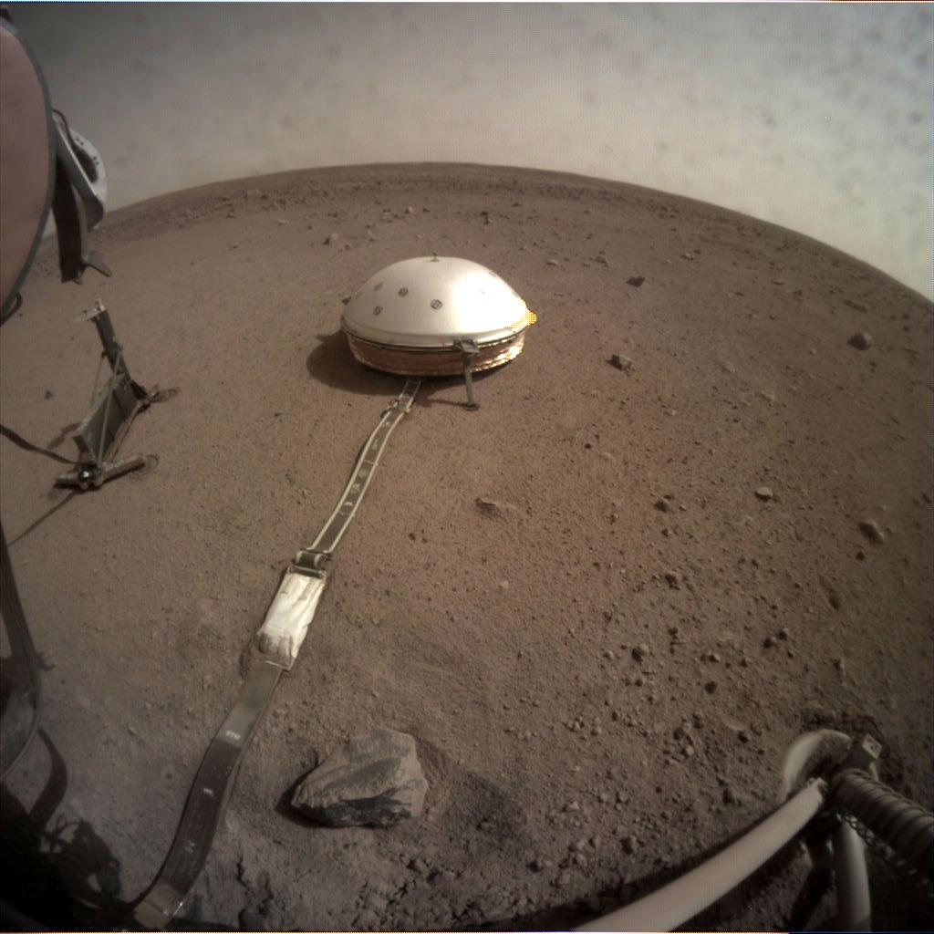 Nasa's Mars lander InSight acquired this image using its Instrument Context Camera on Sol 97