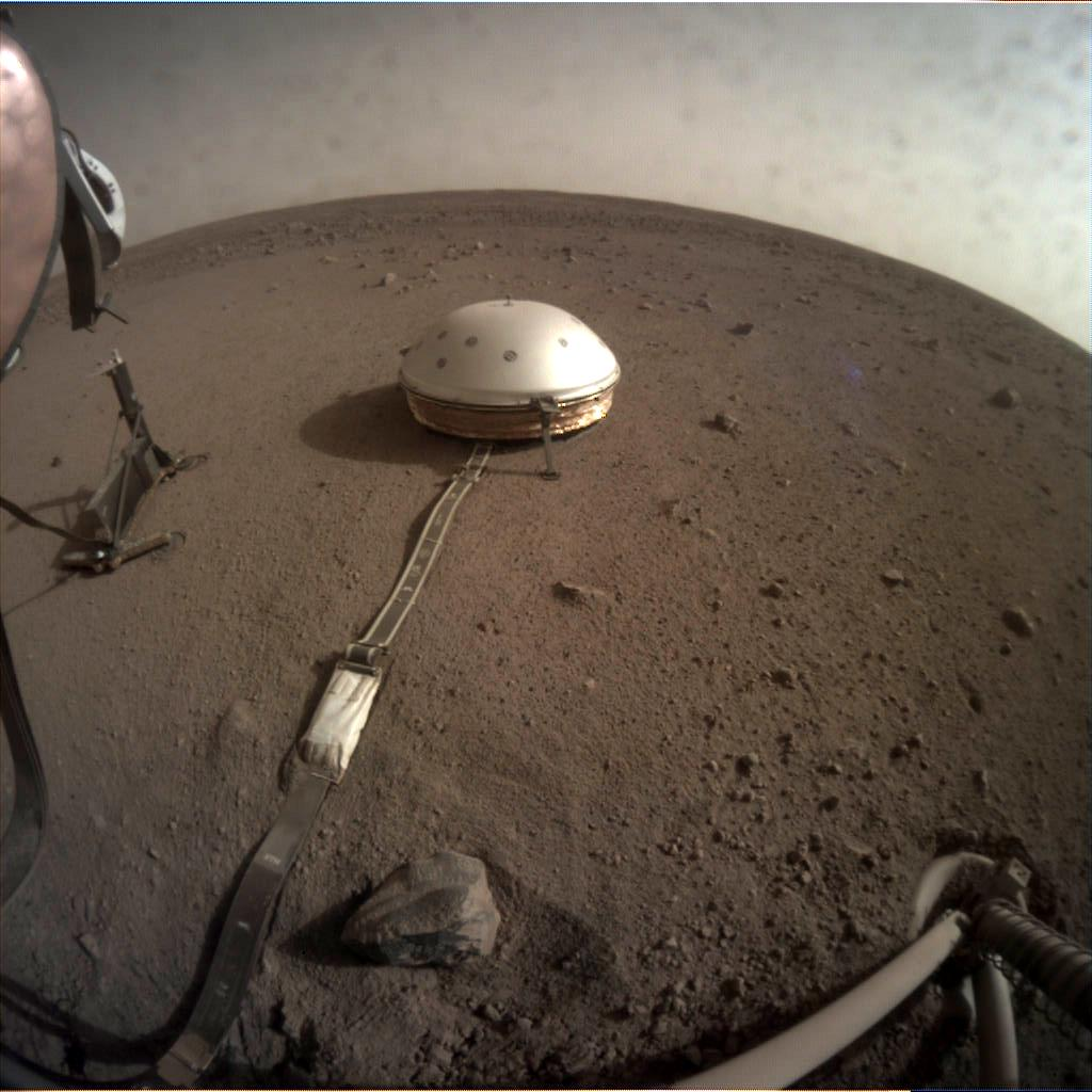 Nasa's Mars lander InSight acquired this image using its Instrument Context Camera on Sol 99