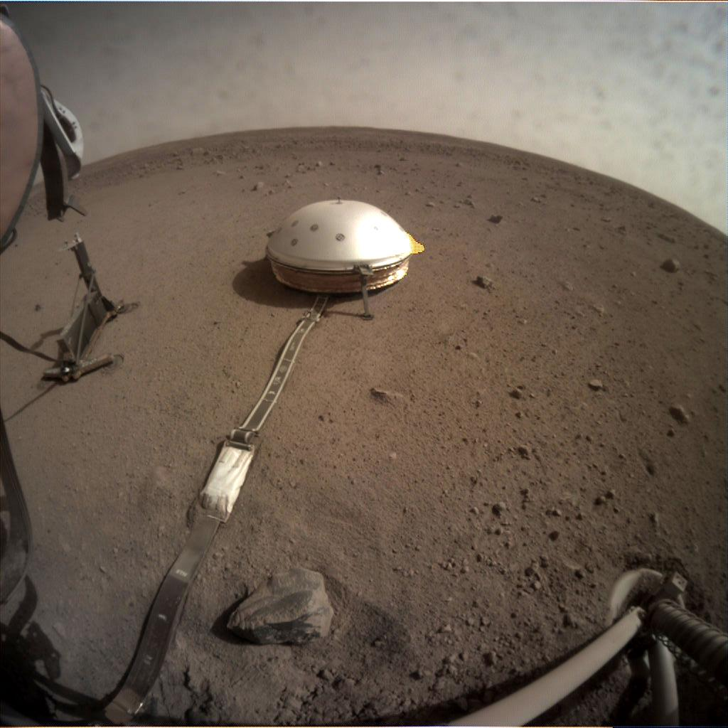 Nasa's Mars lander InSight acquired this image using its Instrument Context Camera on Sol 100