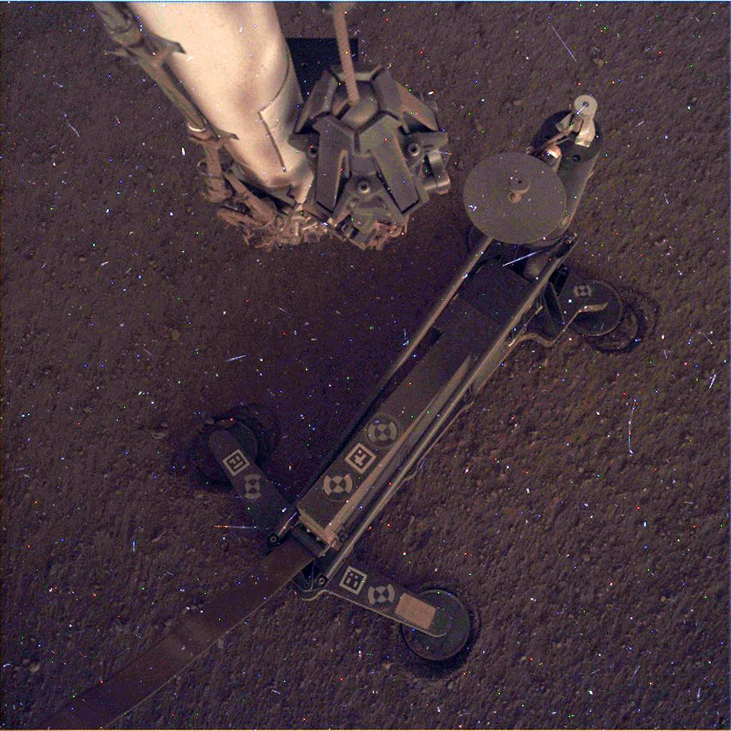 Nasa's Mars lander InSight acquired this image using its Instrument Deployment Camera on Sol 120