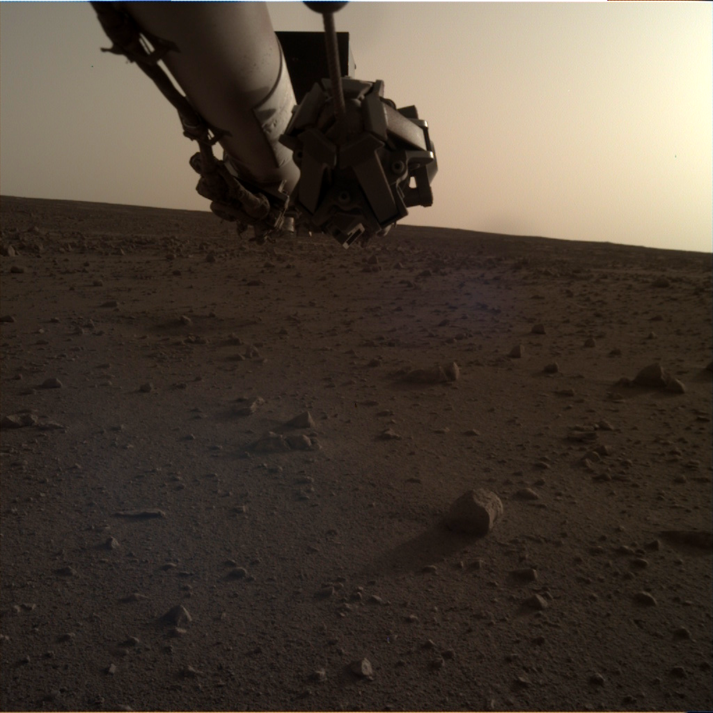 Nasa's Mars lander InSight acquired this image using its Instrument Deployment Camera on Sol 134