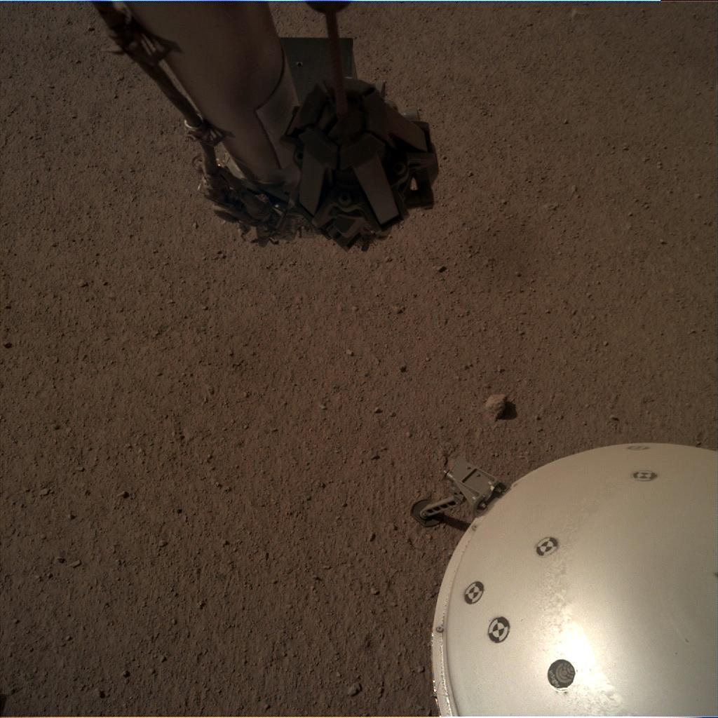 Nasa's Mars lander InSight acquired this image using its Instrument Deployment Camera on Sol 141
