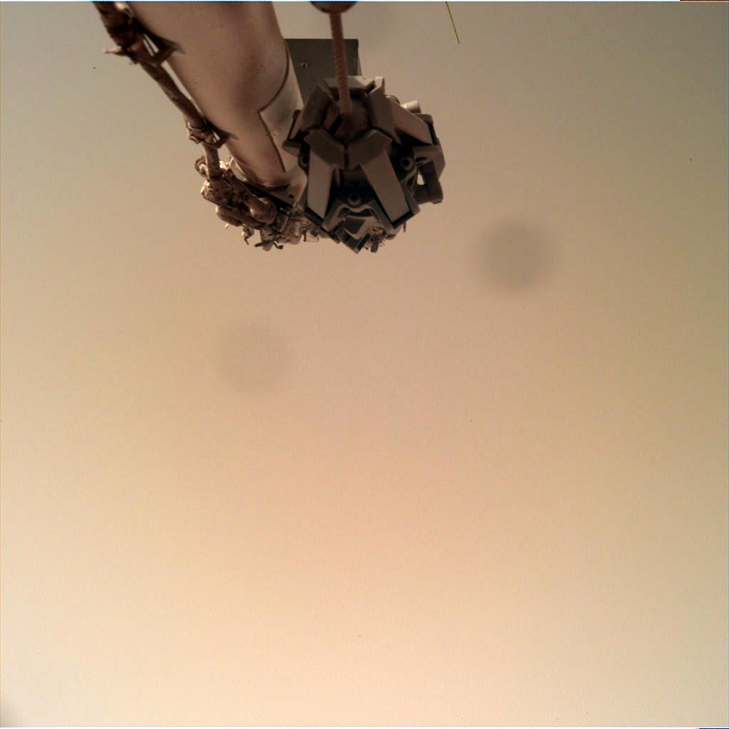 Nasa's Mars lander InSight acquired this image using its Instrument Deployment Camera on Sol 144