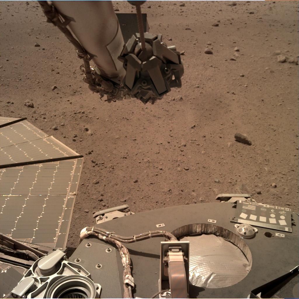 Nasa's Mars lander InSight acquired this image using its Instrument Deployment Camera on Sol 149
