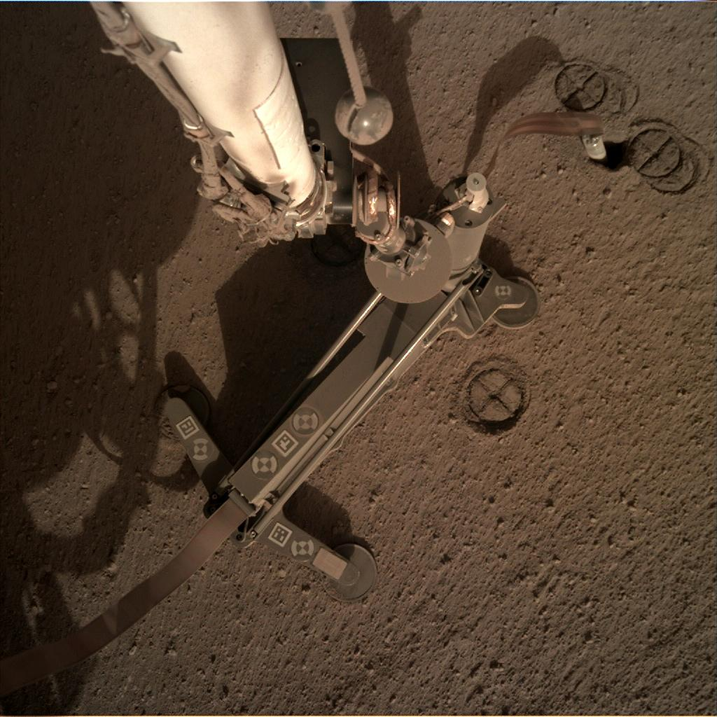 Nasa's Mars lander InSight acquired this image using its Instrument Deployment Camera on Sol 220