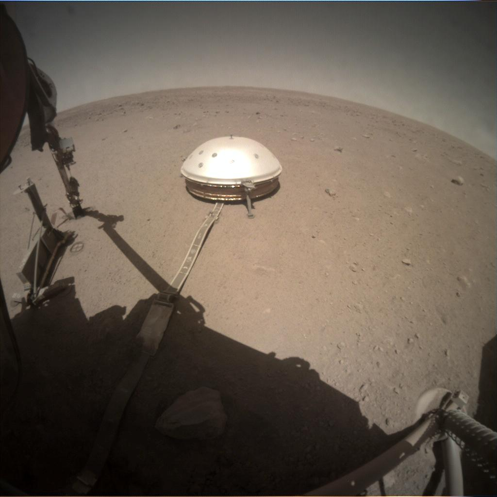 Nasa's Mars lander InSight acquired this image using its Instrument Context Camera on Sol 377