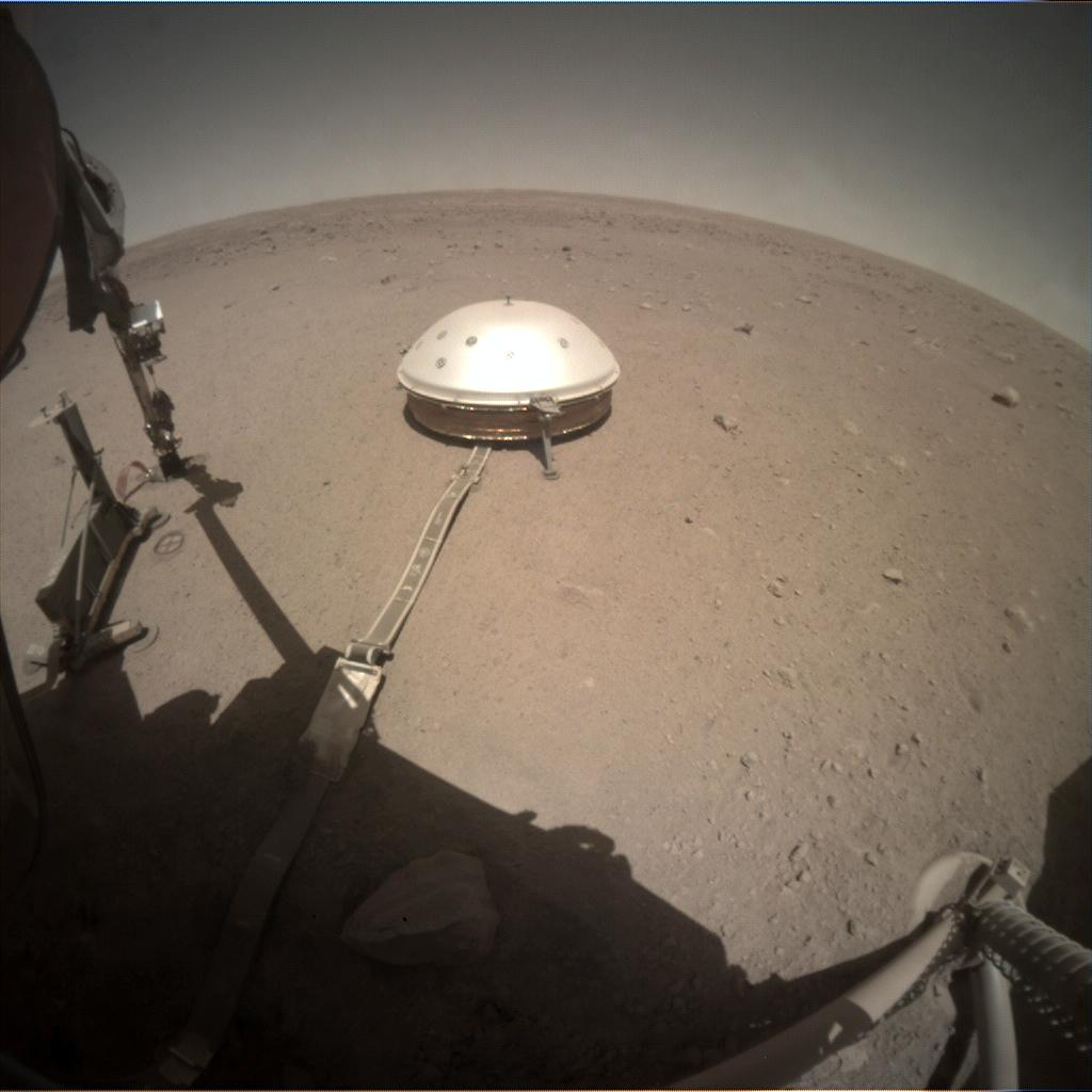 Nasa's Mars lander InSight acquired this image using its Instrument Context Camera on Sol 396