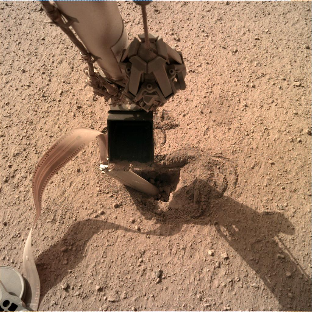 Nasa's Mars lander InSight acquired this image using its Instrument Deployment Camera on Sol 455