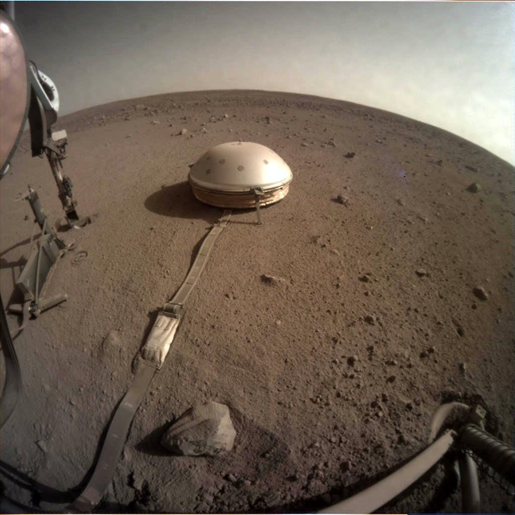 Nasa's Mars lander InSight acquired this image using its Instrument Context Camera on Sol 499