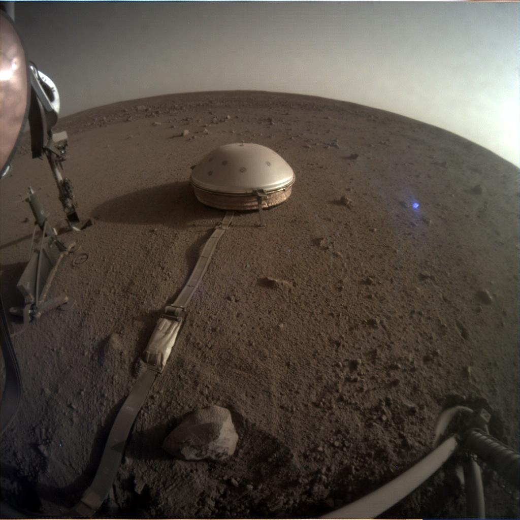 Nasa's Mars lander InSight acquired this image using its Instrument Context Camera on Sol 500