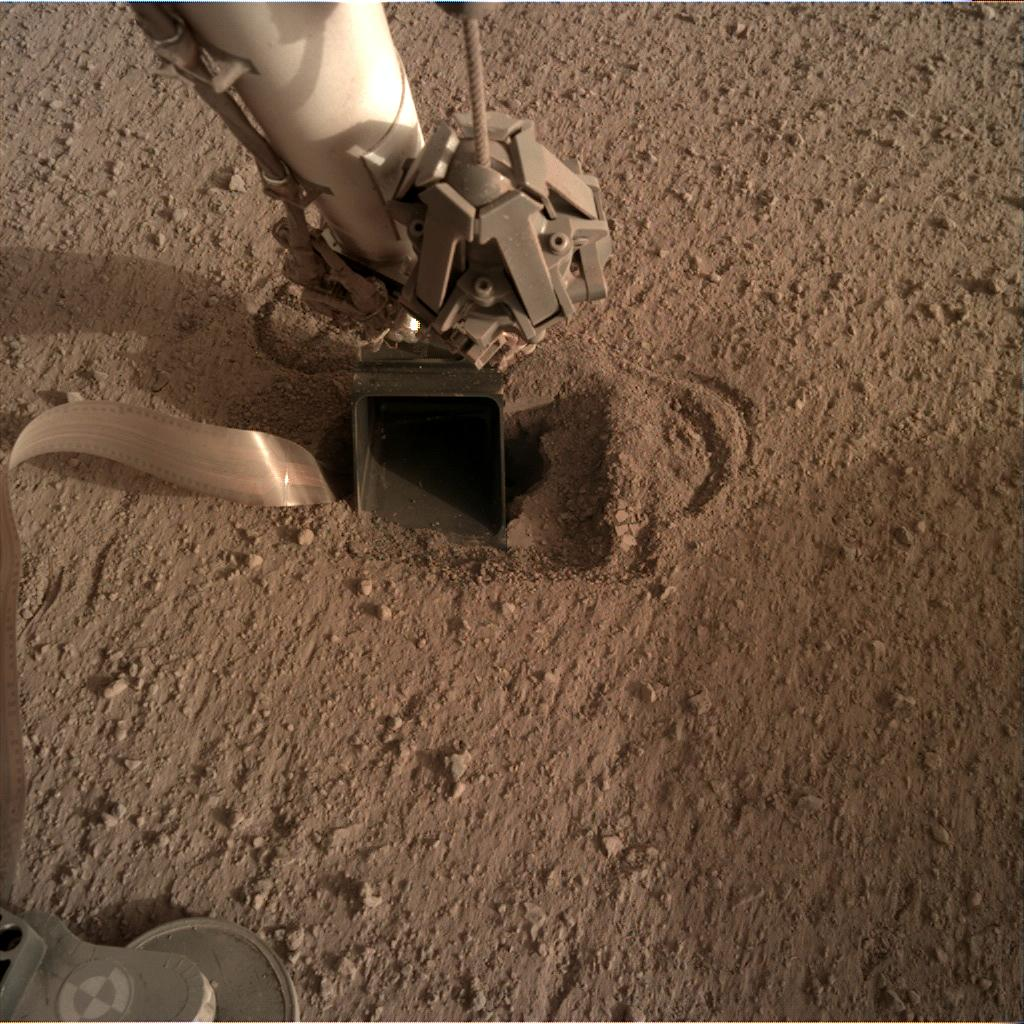 Nasa's Mars lander InSight acquired this image using its Instrument Deployment Camera on Sol 555